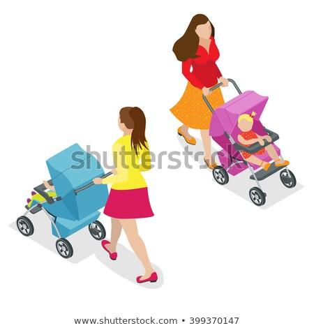 Kinderwagen isometrische icon vector teken kleur Stockfoto © pikepicture