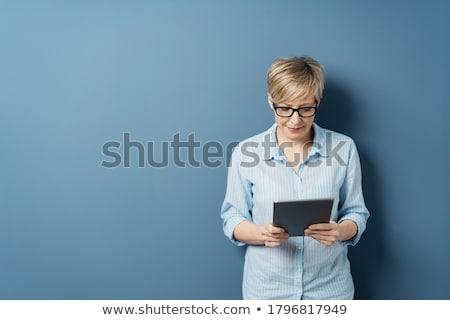 Vrouw digitale vergadering sofa Stockfoto © franky242
