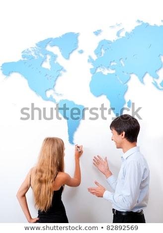 földrajz · lecke · portré · iskolás · néz · földgömb - stock fotó © hasloo