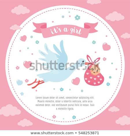 Cute bebé llegada anuncio tarjeta cielo Foto stock © SelenaMay