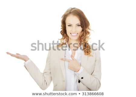 zakenvrouw · uit · lege · palm · gelukkig - stockfoto © stryjek