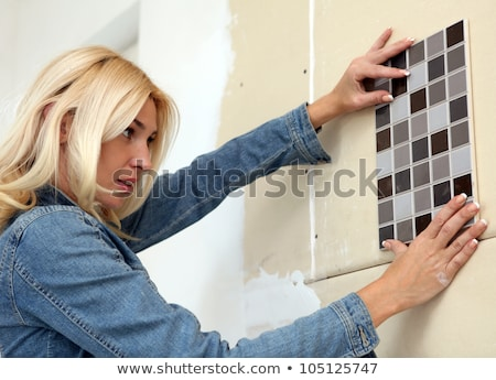 Tiler and designer with project plans Stock photo © photography33