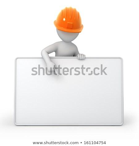 rajzfilmkarakter · építész · tart · fehér · tábla · munkás · asztal - stock fotó © photocreo