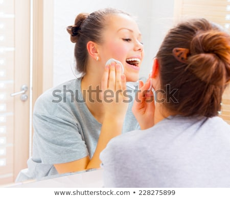 beauty facial care   teenager woman cleaning acne skin stock photo © candyboxphoto