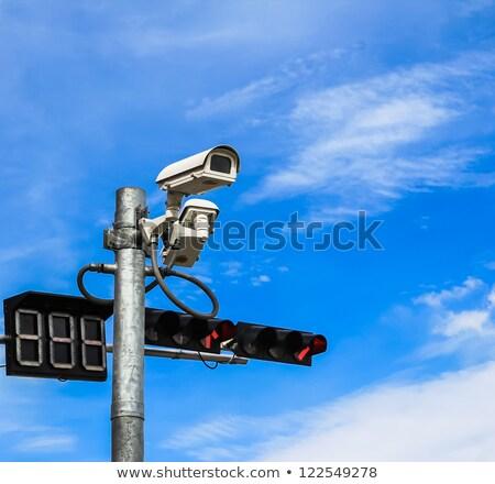 Video surveillance camera sign blue eye Stock photo © lkeskinen