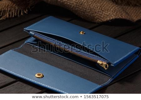Noir cuir pièce bourse isolé blanche Photo stock © khamidulin