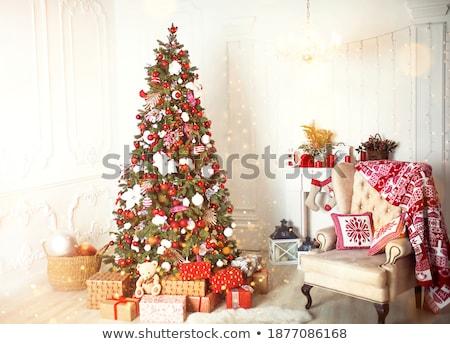 Stock fotó: Fehér · szék · ajándékok · girland · fa · háttér