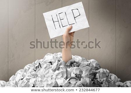Vragen helpen oceaan brieven hand omhoog Stockfoto © idesign