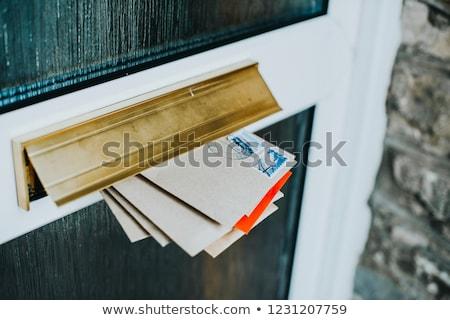 kahverengi · zarf · ön · kapı · pencere · kendi · ad - stok fotoğraf © RTimages