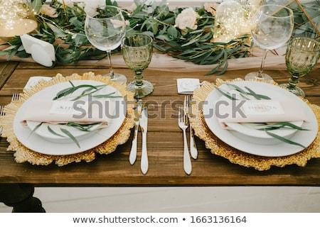 Asztal szett esküvői fogadás esemény buli virág Stock fotó © prg0383