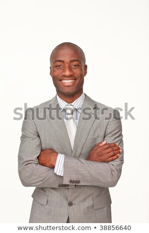 男 スーツ 折られた 腕 白 作業 ストックフォト © wavebreak_media