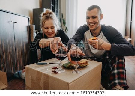 Ifjú pár mozog együtt férfi boldog padló Stock fotó © photography33