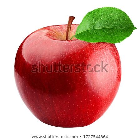 красное · яблоко · квартал · зеленый · лист · изолированный · белый · лист - Сток-фото © dacasdo