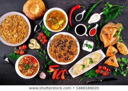 ázsiai konyha darab töltött tyúk tészta cukkini Stock fotó © doupix