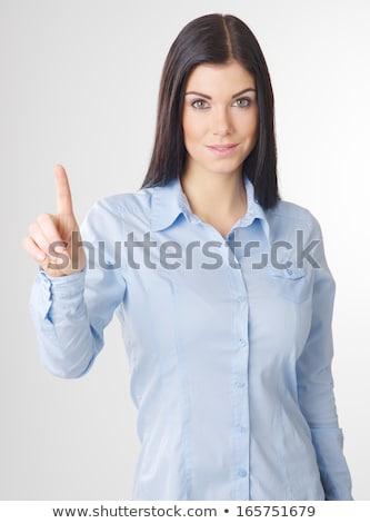 Mulher imaginário botão mulher jovem mão Foto stock © ra2studio