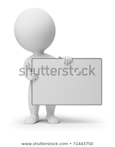 The 3D little man with a signboard. Stock photo © karelin721