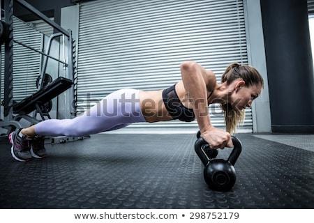 ケトルベル 写真 筋肉の アジア 男 ストックフォト © sumners