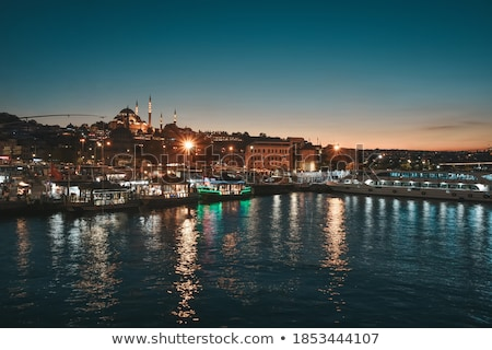 Night view on the restaurants at the end of the Galata bridge, S Stock photo © bloodua