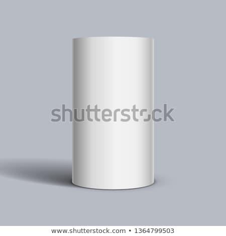 Beyaz silindir 3d illustration yalıtılmış soyut arka plan Stok fotoğraf © montego