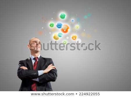 imprenditore · applicazione · pulsante · touch · screen · computer - foto d'archivio © vlad_star