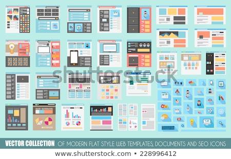 Mega gyűjtemény stílus weboldal sablonok ikonok Stock fotó © DavidArts