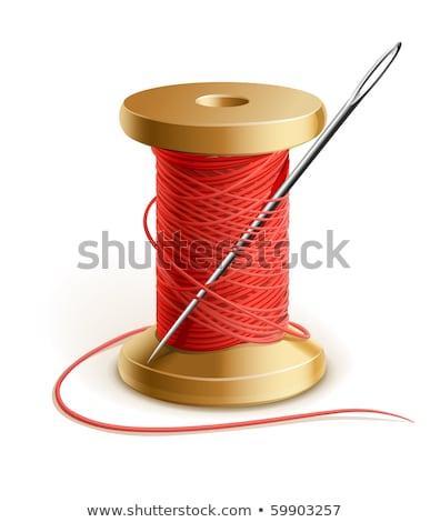 carretel · vermelho · fio · isolado · branco · fundo - foto stock © njnightsky