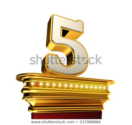 Number Five on a golden platform over white Stock photo © creisinger
