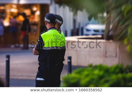 Yerel imzalamak polis istasyon İspanya ağaç Stok fotoğraf © searagen