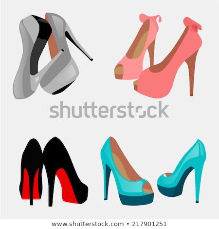 Szürke női cipő magassarkú illusztráció izolált Stock fotó © orensila