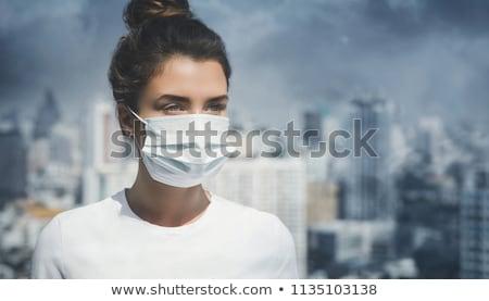Urbano ar poluição mulheres boca Foto stock © sahua