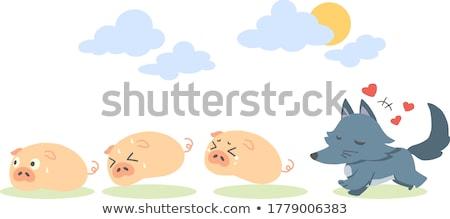 Cartoon pequeño lobo burbuja de pensamiento mano diseno Foto stock © lineartestpilot