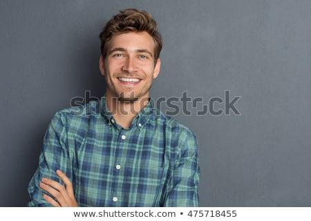 Сток-фото: портрет · счастливым · человека · серый · глазах · волос