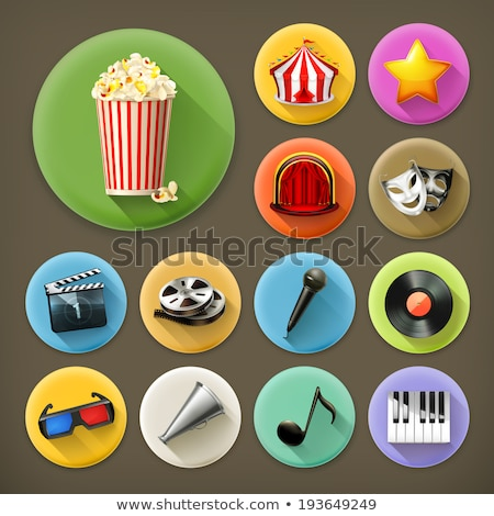 Stock photo: Filmstrip flat app icon with long shadow