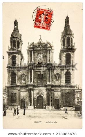 vintage · briefkaart · een · cent · papier - stockfoto © hofmeester
