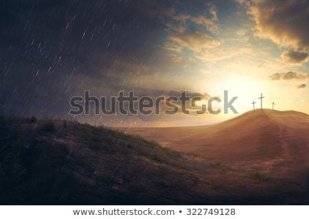 Vihar kereszt Jézus kép tengerpart égbolt Stock fotó © rghenry