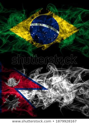 Brazília Nepál zászlók puzzle izolált fehér Stock fotó © Istanbul2009