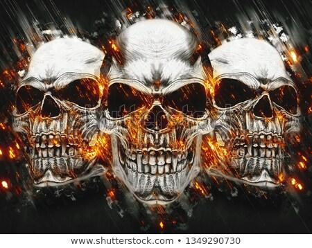 Burning Pirate Skull Stock photo © AlienCat