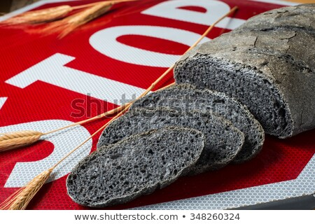 Activated carbon bread stop - pane carbone vegetale Stock photo © crampinini