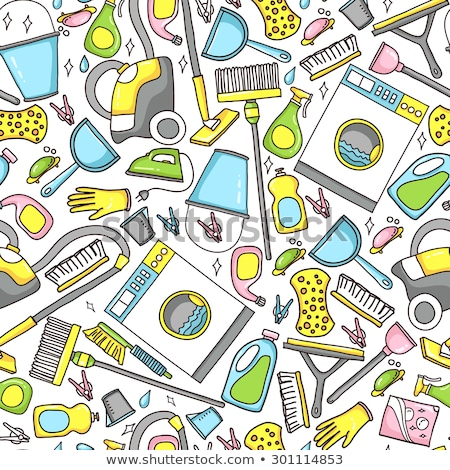 seamless doodle pattern of house cleaning icons stock photo © netkov1