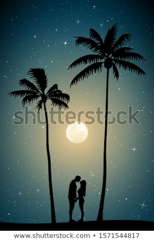 couple on exotic island in the moonlight Stock photo © adrenalina