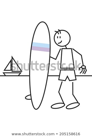 A simple sketch of a male surfer Stock photo © bluering