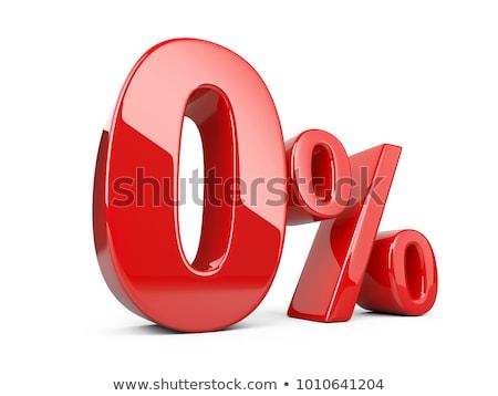Vermelho zero por cento assinar isolado branco Foto stock © Oakozhan