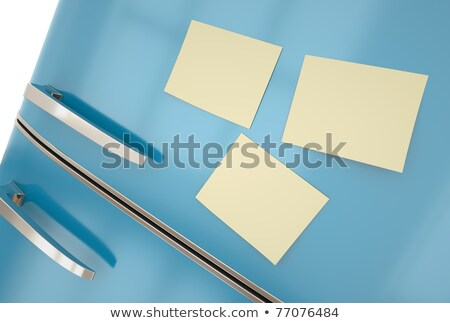 Retro style fridge with blank paper note Stock photo © adrian_n