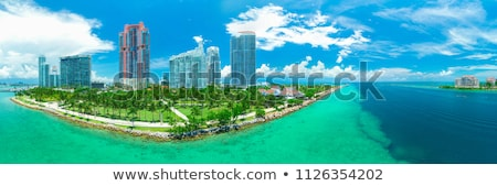 Miami · belváros · napos · sziluett · Florida · USA - stock fotó © dreamframer