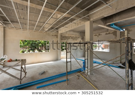 Сток-фото: Foundation With Pipes On Construction Site