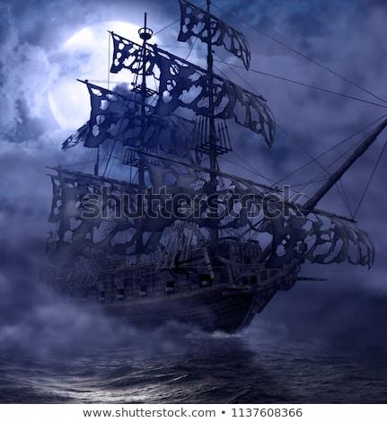 Fantasma navio vintage velho flutuante oceano Foto stock © psychoshadow