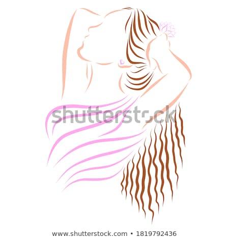 mujer · sexy · traje · de · baño · mentiras · sofá · mujer · playa - foto stock © bezikus