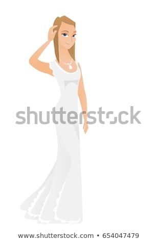 Jonge kaukasisch verloofde hoofd asian witte jurk Stockfoto © RAStudio