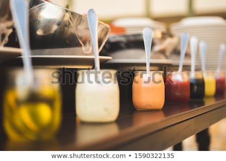 ストックフォト: クリーミー · サラダドレッシング · ボウル · 白 · チーズ · サラダ