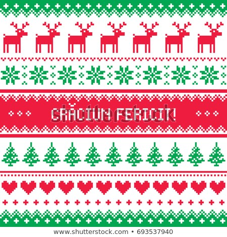 craciun fericit greeting card   merry christmas in romanian pattern stock photo © redkoala